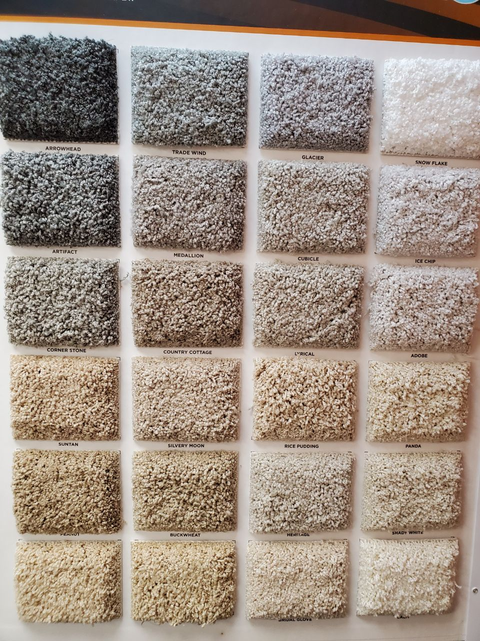 a range of carpet flooring