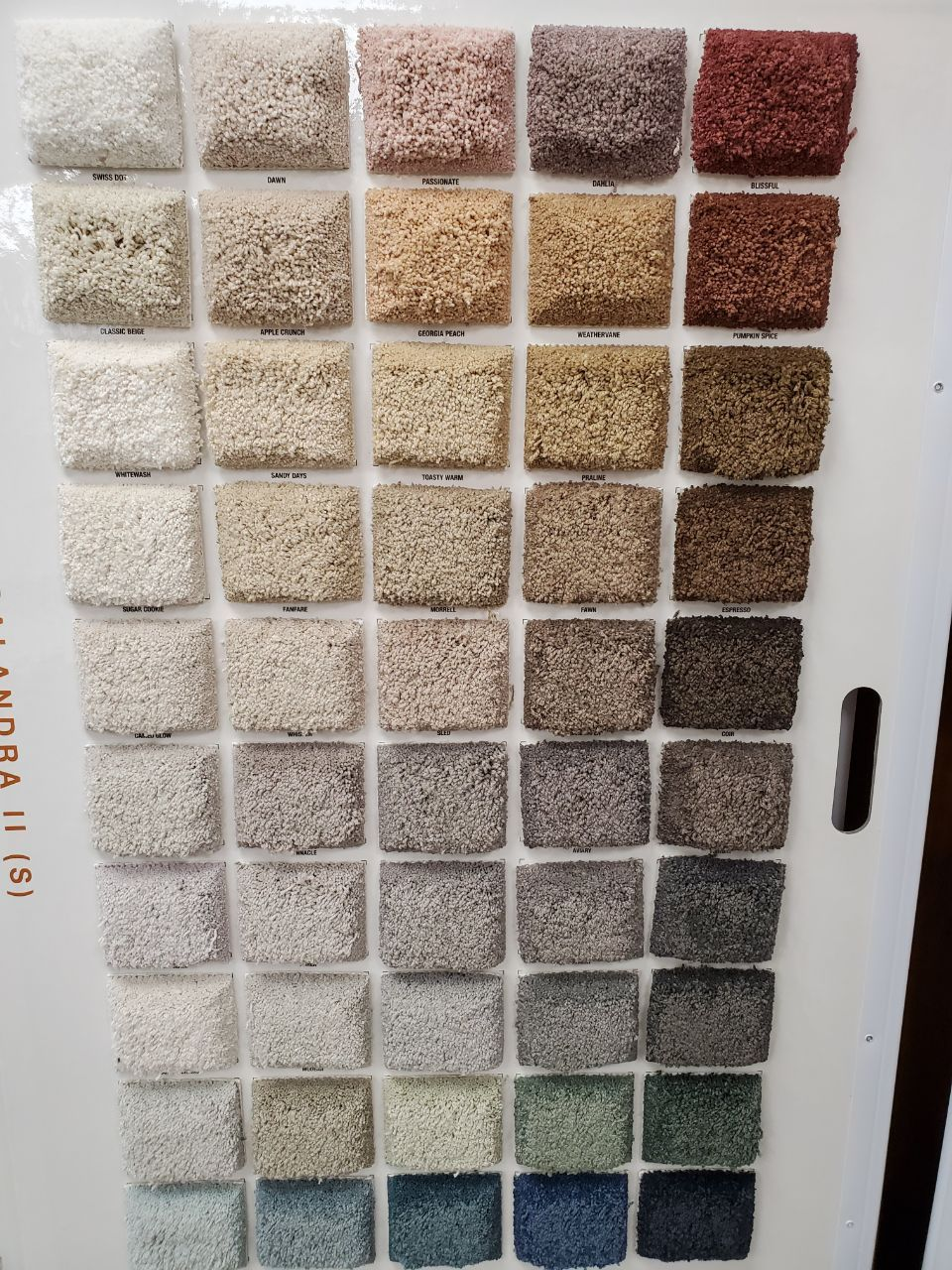 coloured samples of carpet flooring